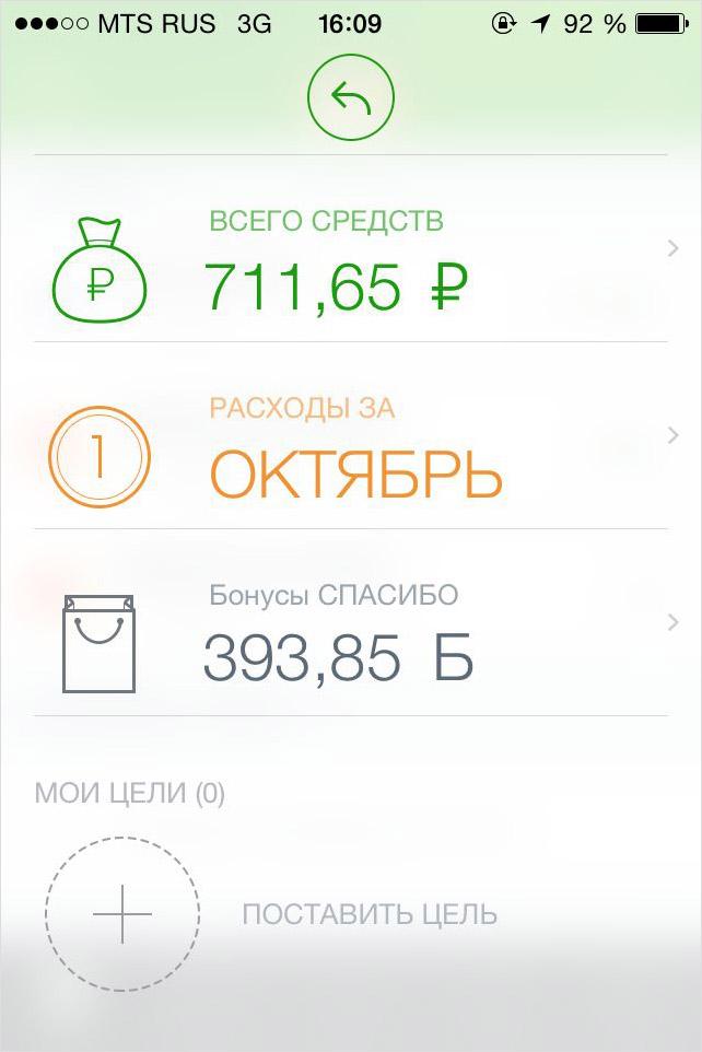 Отображение баланса в мобильном приложении сбербанк онлайн
