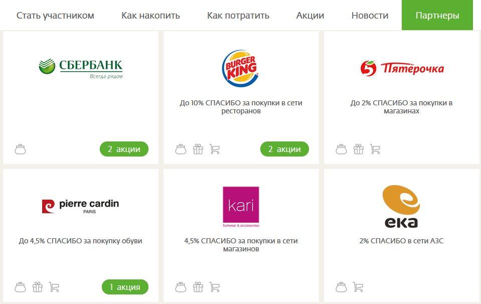 Партнеры бонусной системы Спасибо от Сбербанка