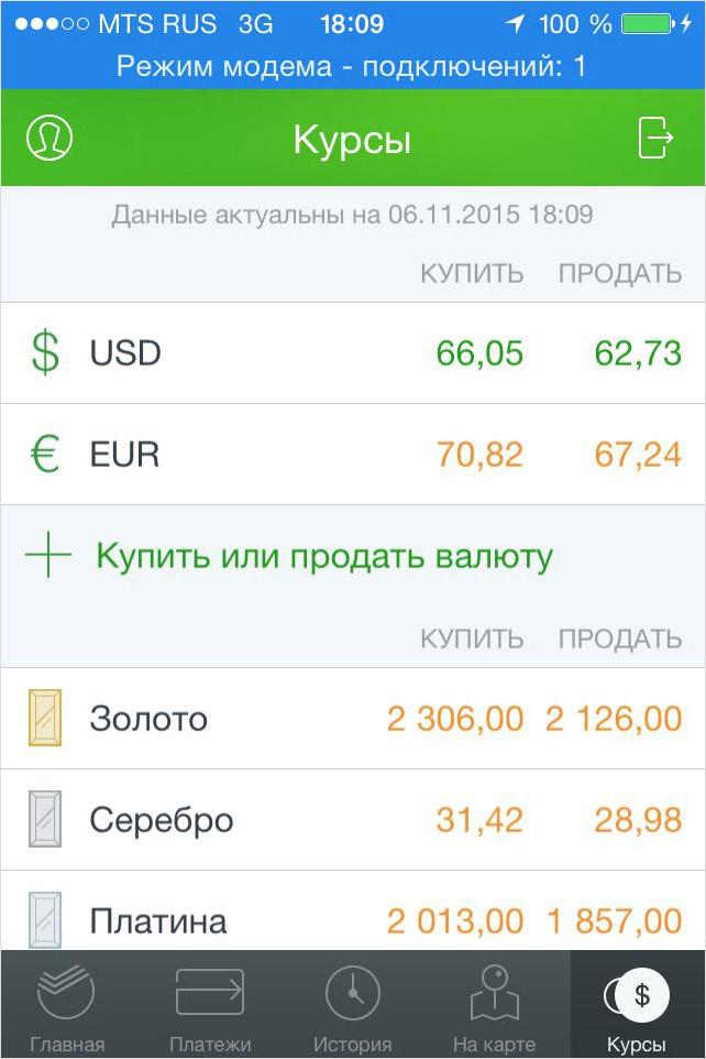 «Курсы» в iPhone сбербанк онлайн