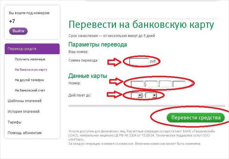 Ввод данных на сайте мегафон для перевода средств на карту с мобильного телефона