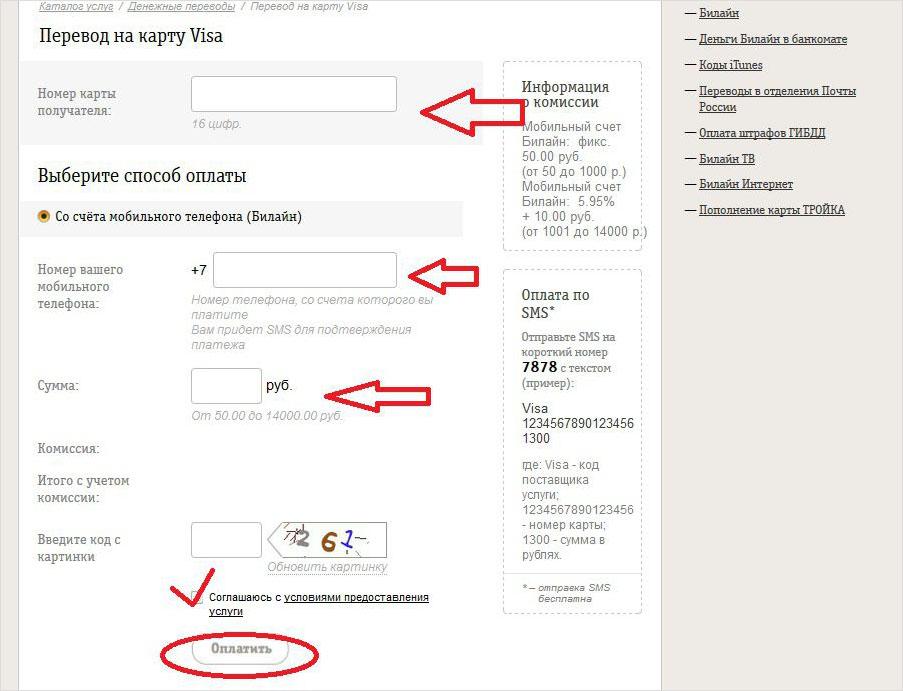 Выбор способа оплаты - перевод на карту с сайта билайн
