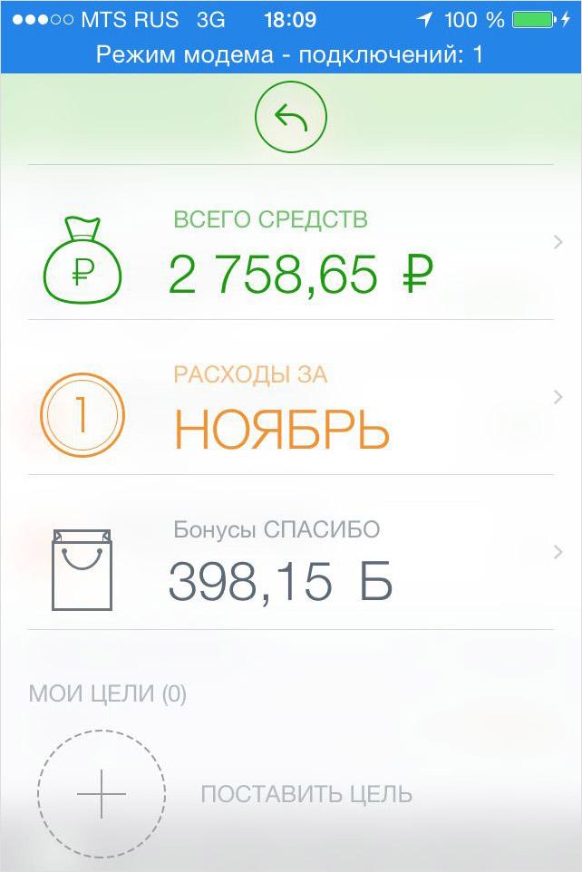 Количество накопленных бонусов «Спасибо» iPhone сбербанк онлайн