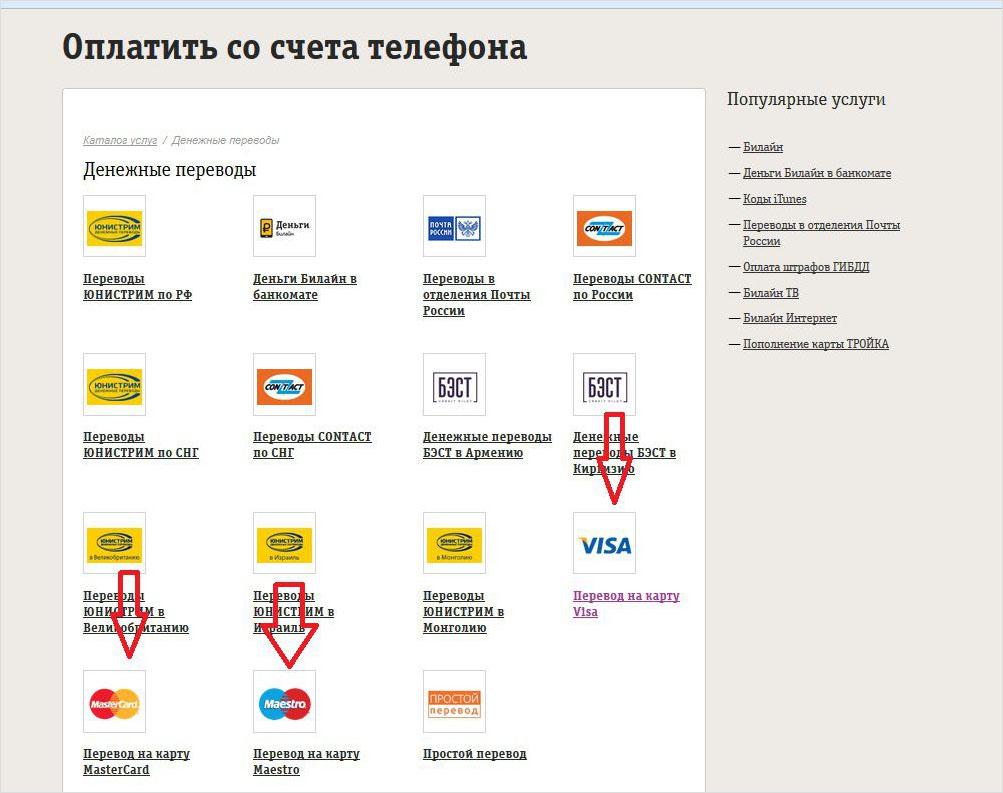 Оплатить со счета мобильного телефона - перевод на карту
