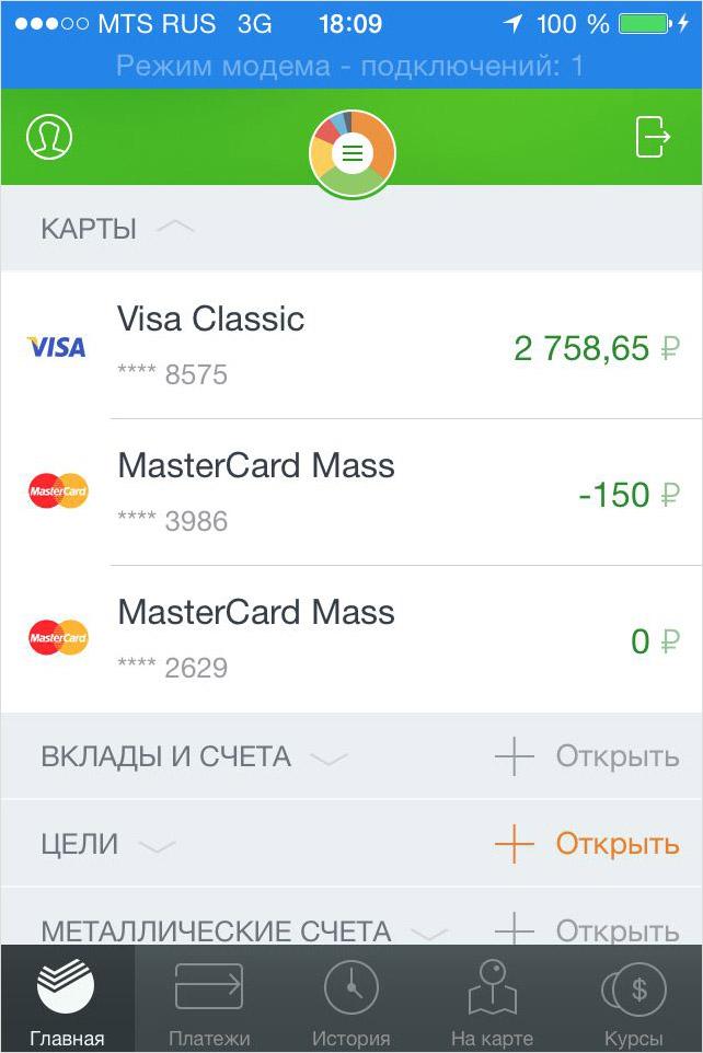 Список имеющихся кредитных карт и их баланс на iPhone сбербанк онлайн